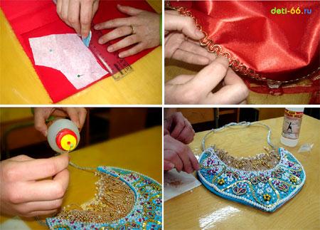"""Обтягиваем каркас кокошника тканью и украшаем бисером и бусинками, используя клей  """"Титан """"."""