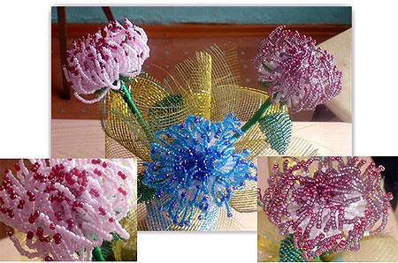 Мастер-класс по плетению цветка хризантемы из бисера со схемами и фото МК по изготовлению хризантемы из бисера...