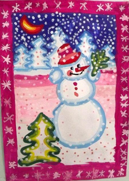 Рисунок на новый год своими руками красками