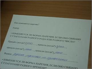 Урок русского языка в 4 классе по теме