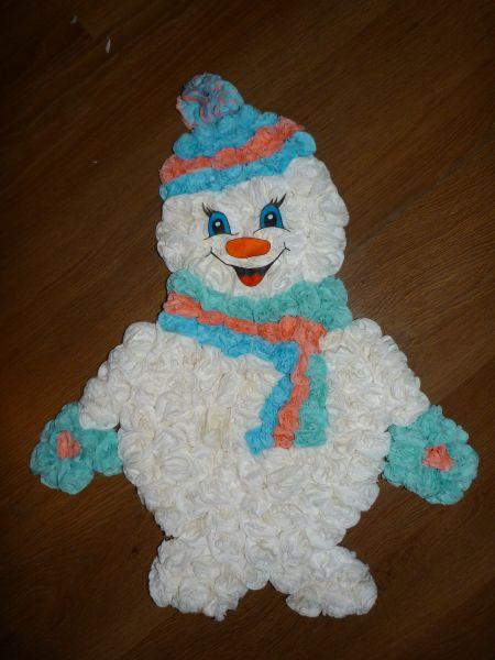 Как сделать снеговика из салфеток своими руками